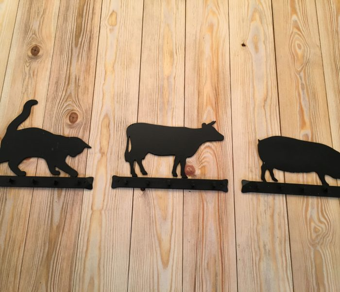 hand forged key rack cat, cow, pig