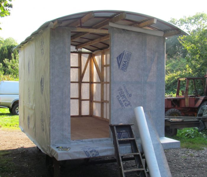 Shepherd hut waterproof membrane
