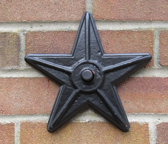 5 point star iron patress plate wall tie hand forged in Norfolk