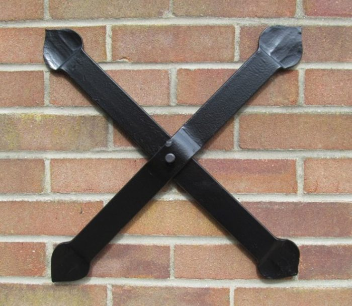 cross hand forged wrought iron pattress plate wall tie