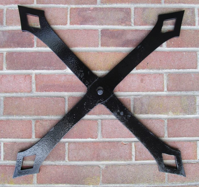 Cross hand forged iron pattress plate wall tie